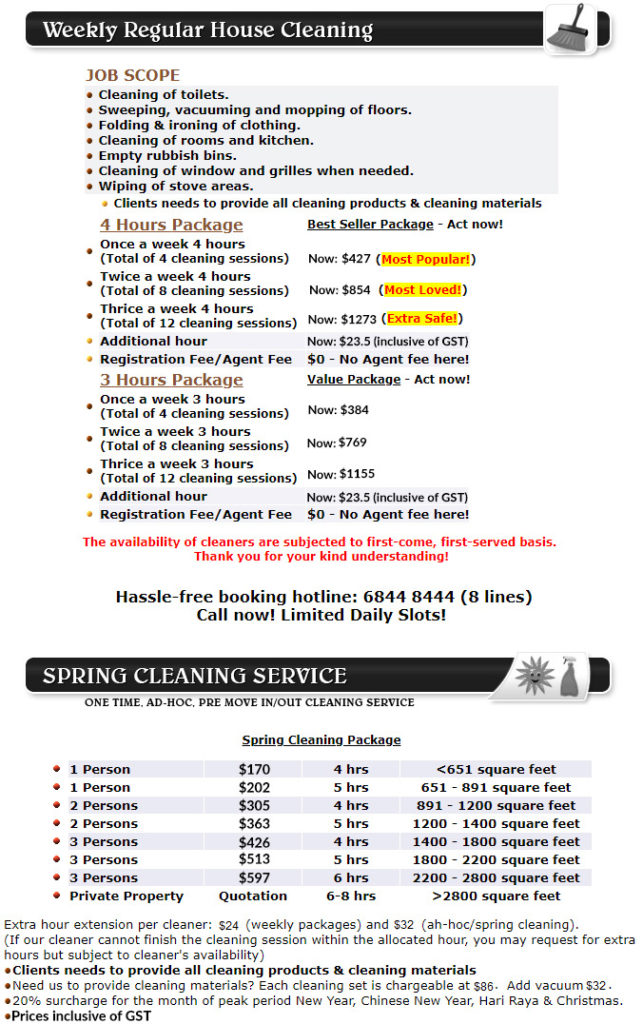 Part Time Maid Service - Pricelist