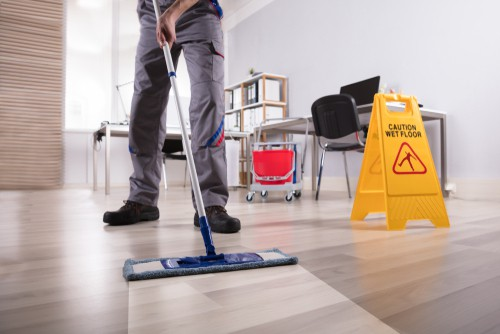 Flooring cleaning in progress