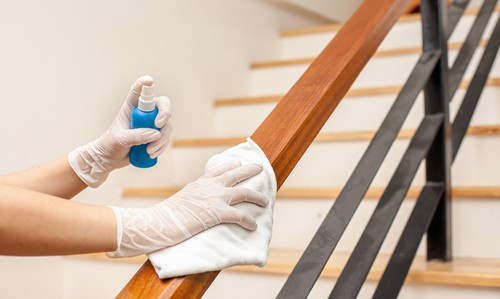 Disinfecting hand rails