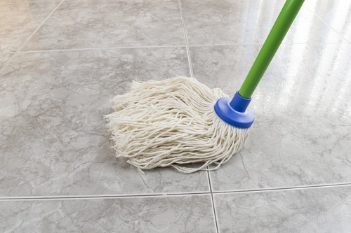 Mopping marble floor